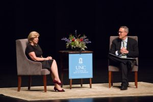 Nina Totenberg on stage in Memorial Hall in a conversation with UNC School of Law's Michael Gerhardt.