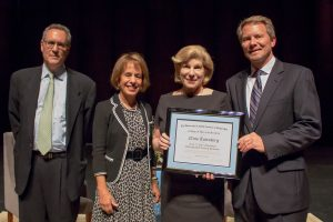From left, UNC Law Professor Michael Gerhardt, Chancellor Carol Folt, NPR Correspondent Nina Totenberg and College of Arts and Sciences Dean Kevin Guskiewicz. Guskiewicz presents Totenberg with the Frey Distinguished Professor award.